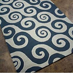 Hand-hooked Blue Waves Rug (5' x 7'6)