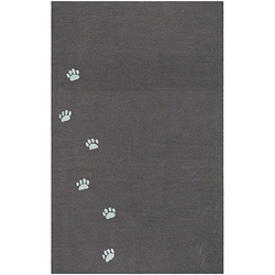 Hand-hooked Brown Pawprint Rug (3'6 x 5'6)