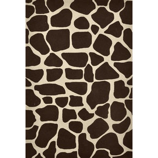 Hand-hooked Brown Animal Print Rug (5' x 7'6)