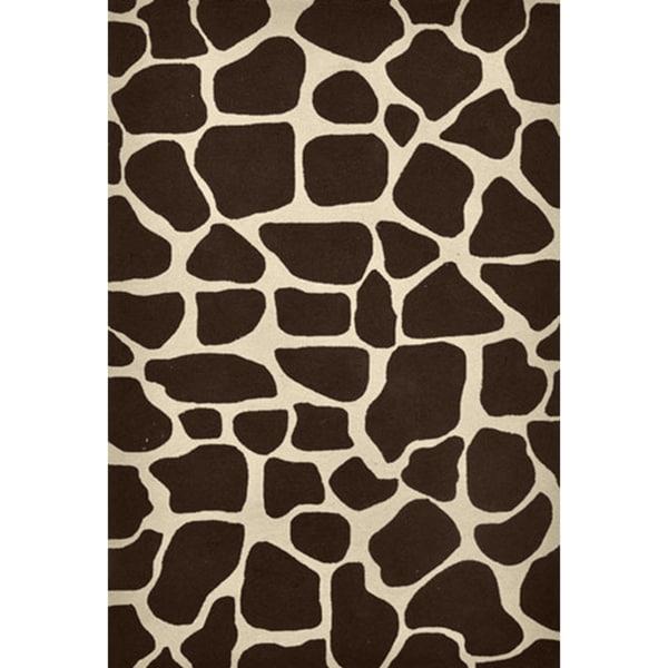 Hand-hooked Brown Animal Print Rug (5' x 7'6)