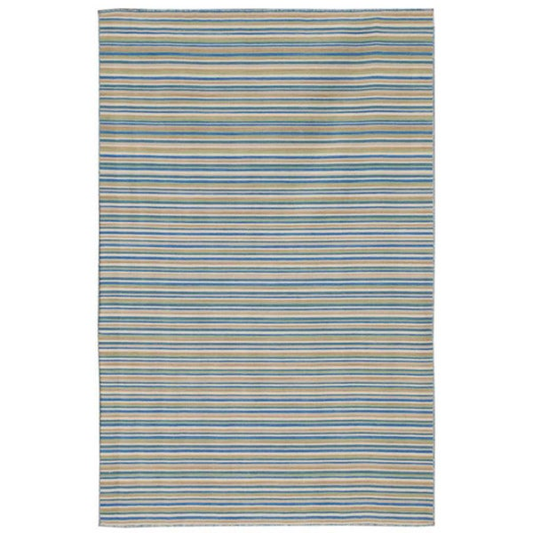 Striped Blue Flat-Weave Dhurrie Wool Rug (8' x 10')
