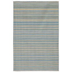Flat Weave Blue Stripe Wool Rug (4' x 6')