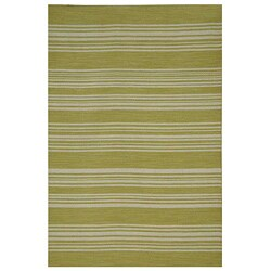 Flat Weave Green Stripe Wool Rug (4' x 6')