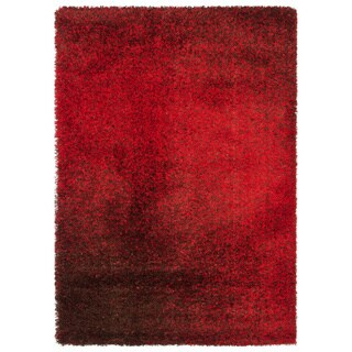 Stella Red/ Brown Shag Rug (7'7 x 10'5)