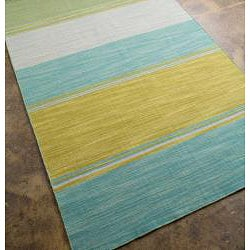 Flat Weave Yellow Stripe Wool Rug (4' x 6')