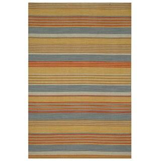 Tasius Flat Weave Gold Wool Rug (4' x 6')