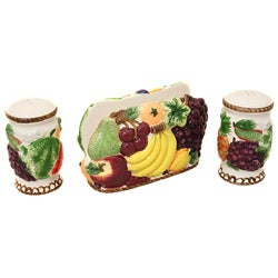 Tropical Fruit Collection Napkin Holder with Salt and Pepper Shaker Set