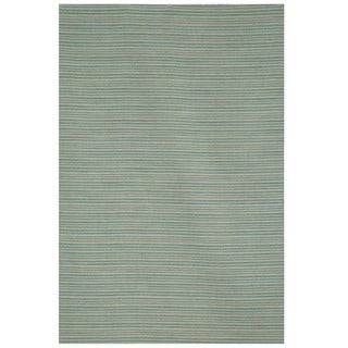 Hand-tufted Flat Weave Blue Wool Rug (8' x 10')