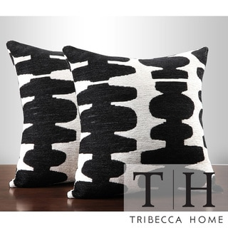 Tribecca Home Black/ Light Grey 18-inch Pillow (Set of 2)