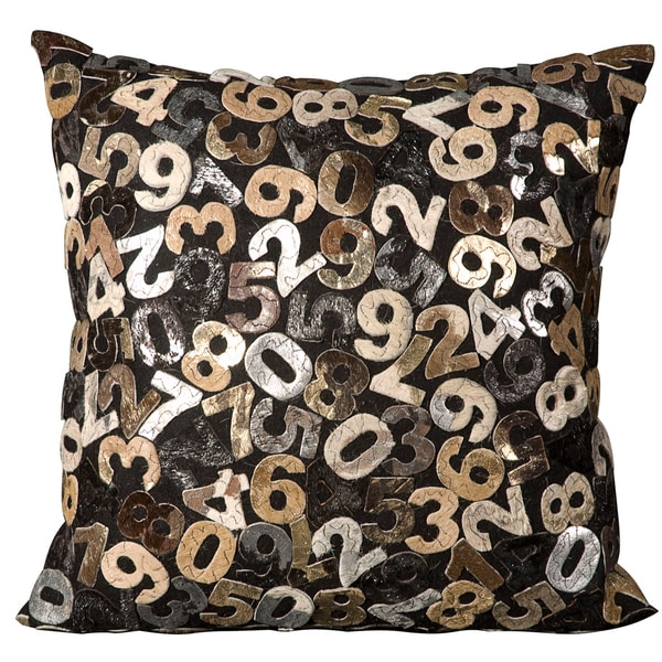 Mina Victory Natural Leather and Hide Numbers Grey Throw Pillow (20-inch x 20-inch) by Nourison