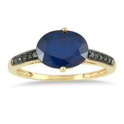 10k Yellow Gold Sapphire and 1/10ct TDW Black Diamond Ring