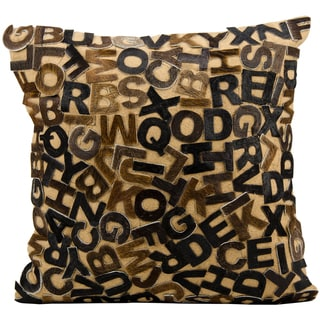 Brown Cowhide Lettered 24 x 24-inch Decorative Pillow