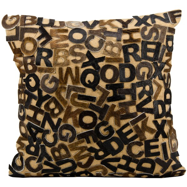 Mina Victory Natural Leather and Hide Alphabet Chocolate Throw Pillow (24-inch x 24-inch) by Nourison