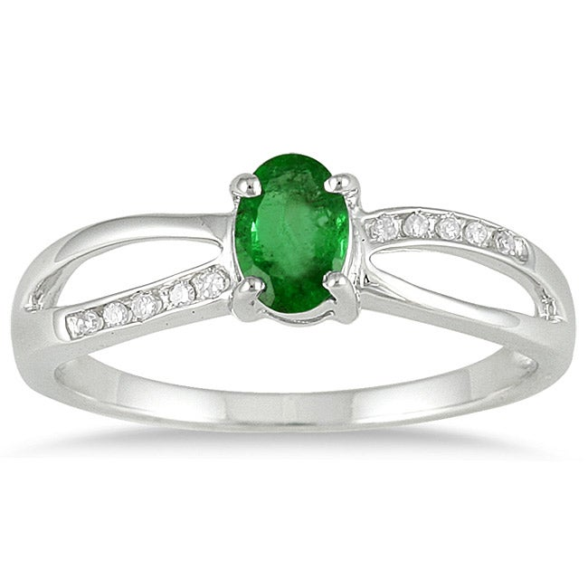 10k White Gold Emerald and Diamond Accent Ring