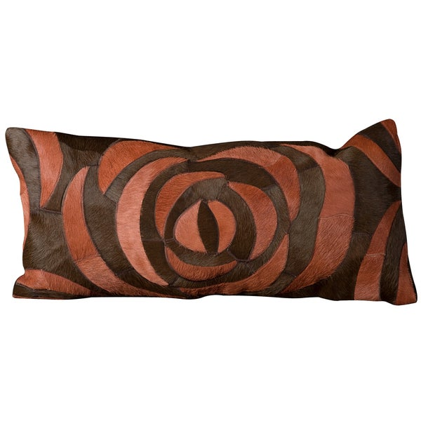 Mina Victory Natural Leather and Hide Rose Red Throw Pillow (14-inch x 30-inch) by Nourison
