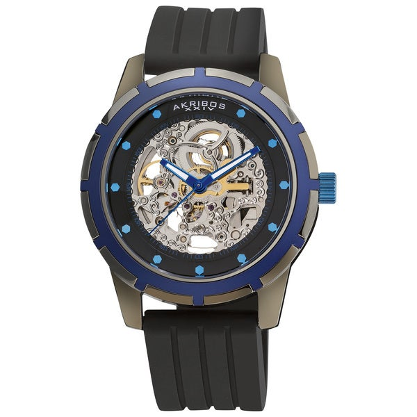 Akribos XXIV Men's Stainless-Steel Delos Skeleton Automatic Watch