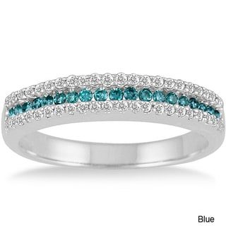 10k Gold 2/5ct TDW Blue or Champagne and White Diamond Band (I-J, I1-I2)