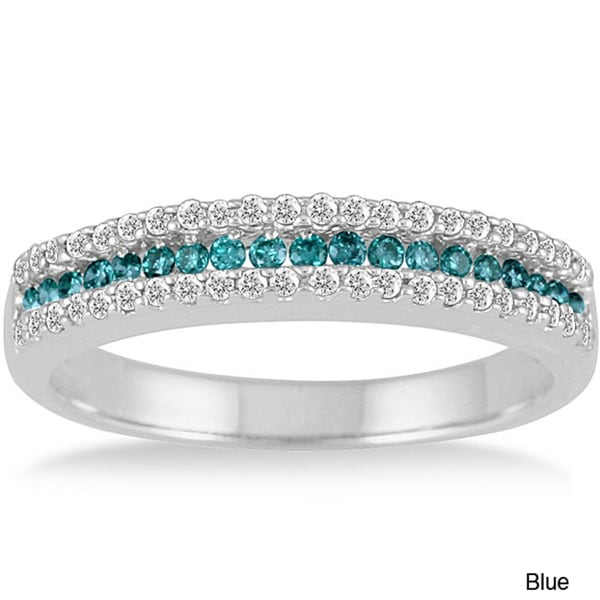 Marquee Jewels 10k Gold 2/5ct TDW Blue or Champagne and White Diamond Band (I-J, I1-I2)