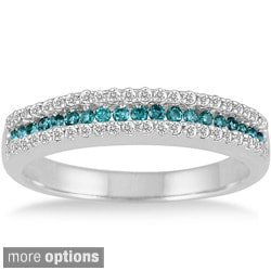 10k Gold 2/5ct TDW Blue or Champagne and White Diamond Band (I-J, I1-I2)