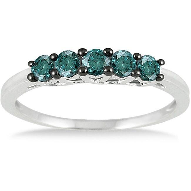 Marquee Jewels 10-karat White-gold 1/4-carat TDW Brilliant Blue Diamond Ring