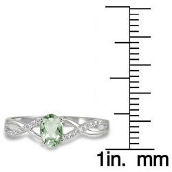 10k White Gold Green Amethyst and 1/10ct TDW Diamond Ring (I-J, I1-I2)