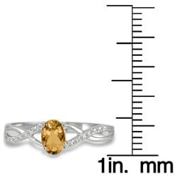 10k White Gold Citrine and 1/10ct TDW Diamond Ring (I-J, I1-I2)