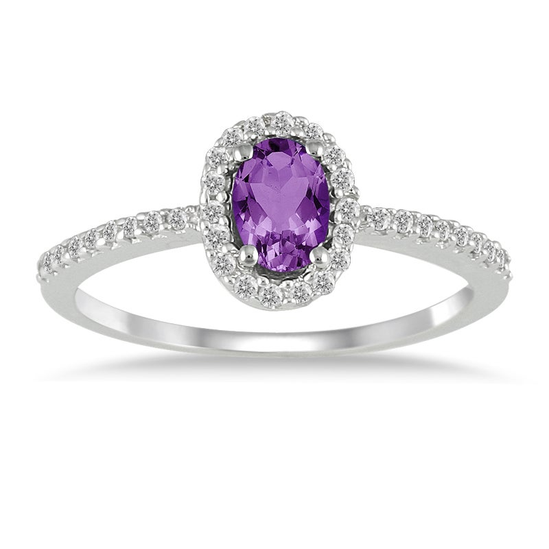 Marquee Jewels 10k White Gold Amethyst and 1/5ct TDW Diamond Ring (I-J, I1-I2)