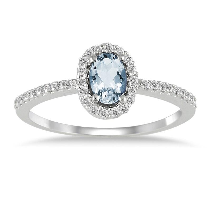 Marquee Jewels 10k White Gold Aquamarine and 1/5ct TDW Diamond Ring (I-J, I1-I2)
