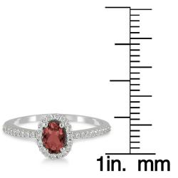 10k White Gold Garnet and 1/5ct TDW Diamond Ring (I-J, I1-I2)