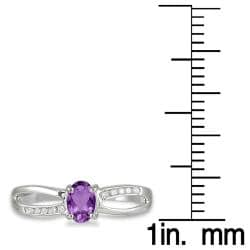 10k White Gold Round-cut Amethyst and Diamond Accent Ring
