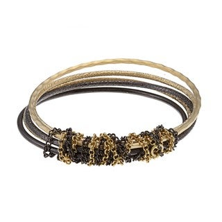 Kate Bissett Goldtone and Black Bangle Bracelet Set