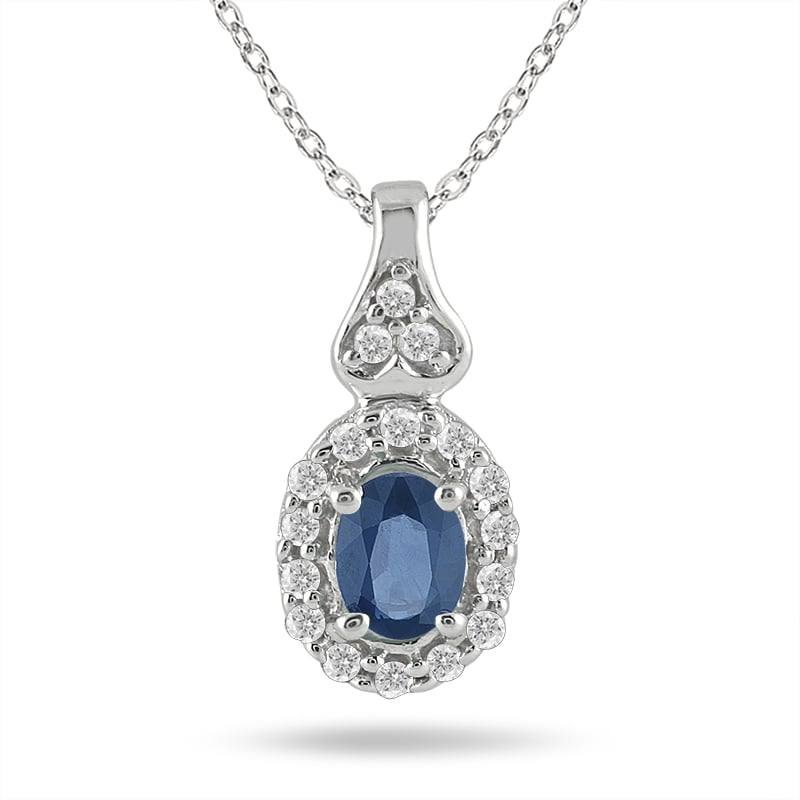 Marquee Jewels 10k White Gold Sapphire and 1/8ct TDW Diamond Necklace (I-J, I1-I2)