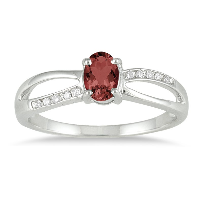 Marquee Jewels 10k White Gold Garnet and Diamond Accent Ring
