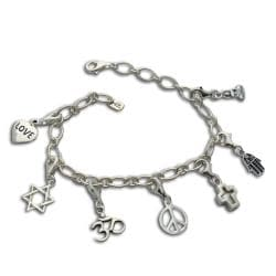 Sterling Silver 'Coexistence' Charm Bracelet (Thailand)