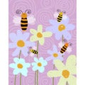 Ankan 'Honey Bees' Gallery-wrapped Canvas Art