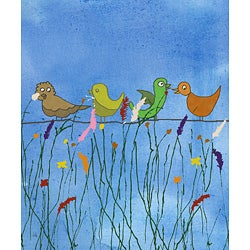 Ankan 'Birds and Flowers 2' Gallery-wrapped Canvas Art