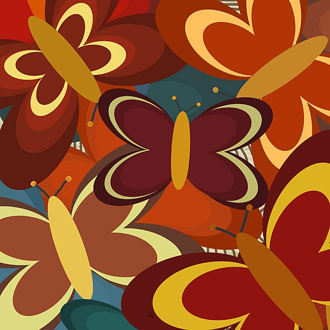 Ankan 'Red Butterflies' Gallery-wrapped Canvas Art