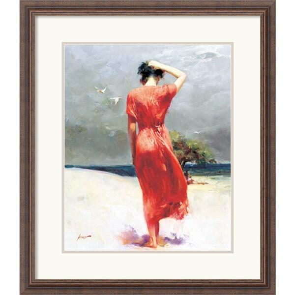 Wood Pino 'Beachside Stroll' Framed Art Print