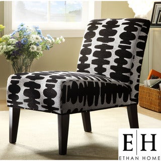 ETHAN HOME Decor Black and Light Grey Lounge Chair