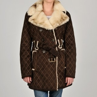 Laundry By Shelli Segal Women's Brown Diamond Stitch Belted Coat