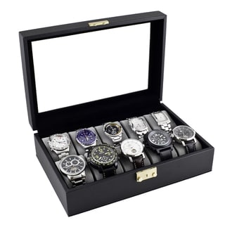 Classic Black Leatherette Watch Case Display Box