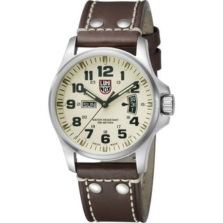 Luminox Field Chrono Ivory Dial Brown Leather Mens Watch