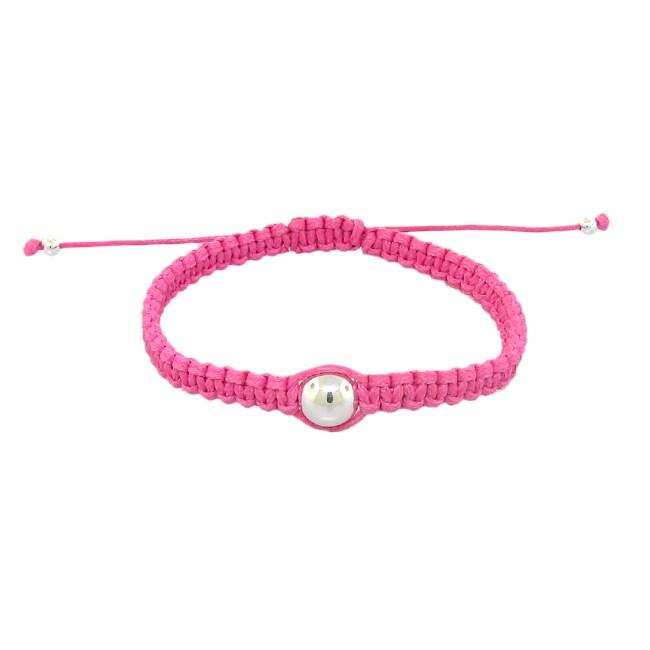 Sterling Silver Bead Pink Bracelet