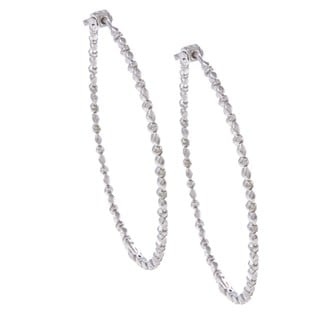 Sterling Silver 1/8ct TDW Diamond Hoop Earrings (H-I, I2-I3)