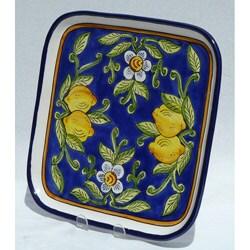 Citronique Design Ceramic 11-inch Square Platter (Tunisia)