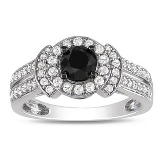 Miadora 10k White Gold 1ct TDW Black and White Diamond Halo Ring (G-H, I2-I3)