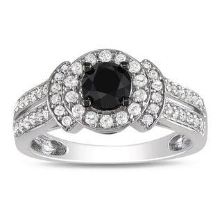 Miadora 10k White Gold 1ct TDW Black and White Diamond Halo Ring (G-H, I2-I3) with Bonus Earrings