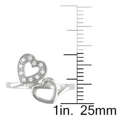 M by Miadora 10k White Gold 1/10ct TDW Diamond Heart Ring (G-H, I2-I3)