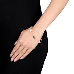 Silvertone Multicolored Freshwater Pearl Link Bracelet (8-9mm)