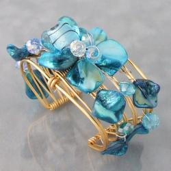 Goldtone Blue Seashell Floral Cuff Bracelet (Philippines)